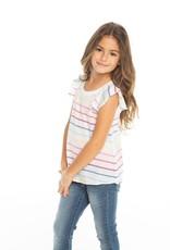 Chaser Chaser Girls Rainbow Stripe Flouncy Flutter Sleeve Tee