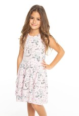 Chaser Chaser Girls All Over Unicorns Ribbed Tiered Tank Dress