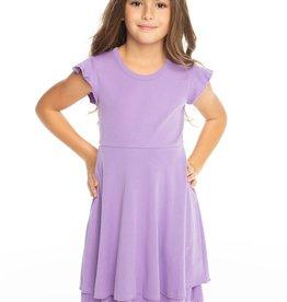 Chaser Chaser Girls Flutter Sleeve Tiered Dress