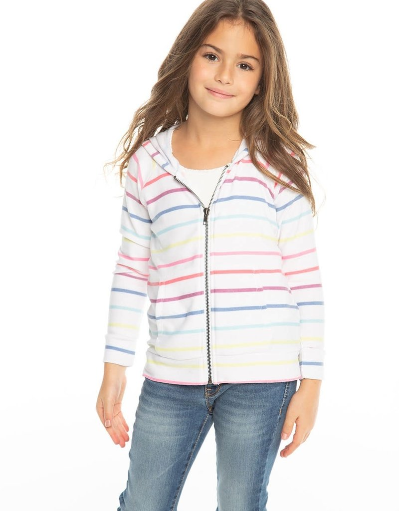 Chaser Chaser Rainbow Stripe Zip Hoodie