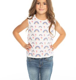 Chaser Chaser Girls Rainbow Ice Cream Flouncy Tank