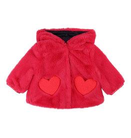 Billieblush Billieblush Hooded Faux Fur Jacket w Heart Pockets