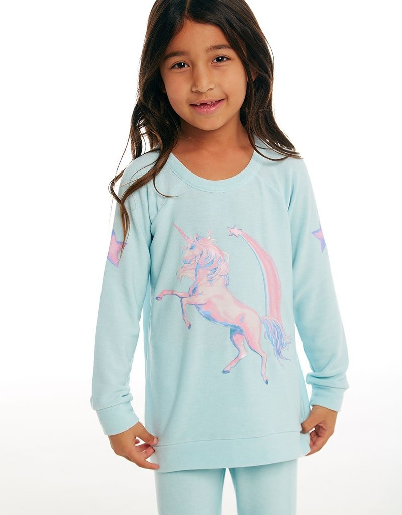 Chaser Chaser Girls Cozy Knit Raglan Unicorn Star Tee