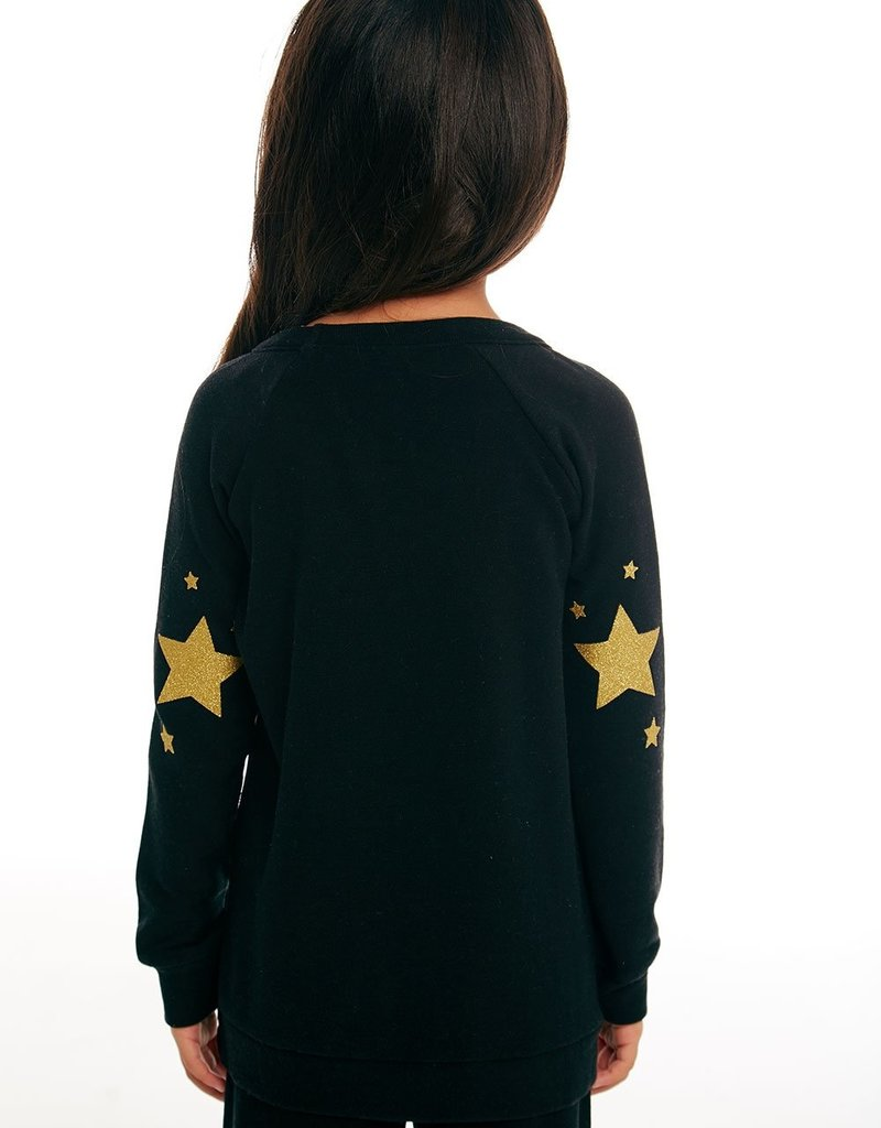 Chaser Chaser Girls Cozy Knit Gold Unicorn Raglan Pullover