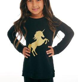 Chaser Chaser Girls Cozy Knit Gold Unicorn Raglan Pullover