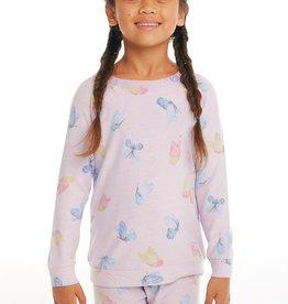 Chaser Chaser Girls Cozy Knit Butterfly Print Raglan Pullover