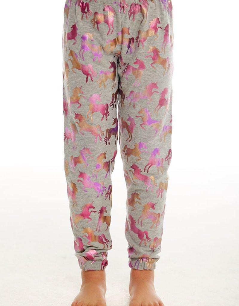 Chaser Chaser Girls Cozy Knit Metallic Unicorn Print Lounge Pants