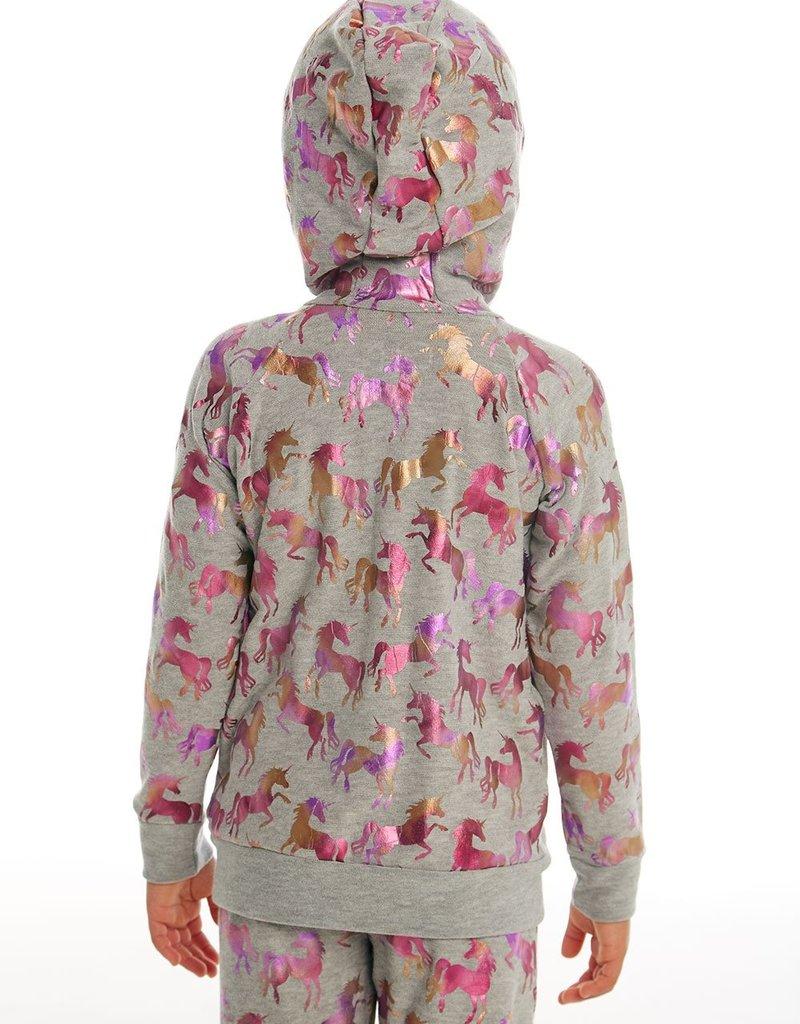 Chaser Chaser Girls Metallic Unicorn Print Zip Hoodie
