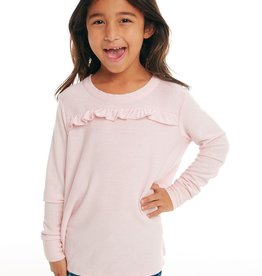 Chaser Chaser Girls Cozy Knit LS Ruffle Yoke Pullover