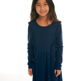 Chaser Chaser Girls Baby Rib LS Ruffle Dress w Pockets