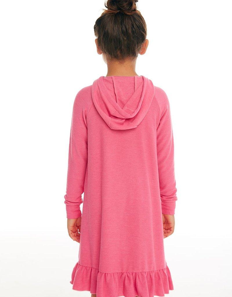 Chaser Chaser Girls Cozy Knit LS Hooded Ruffle Hem Dress