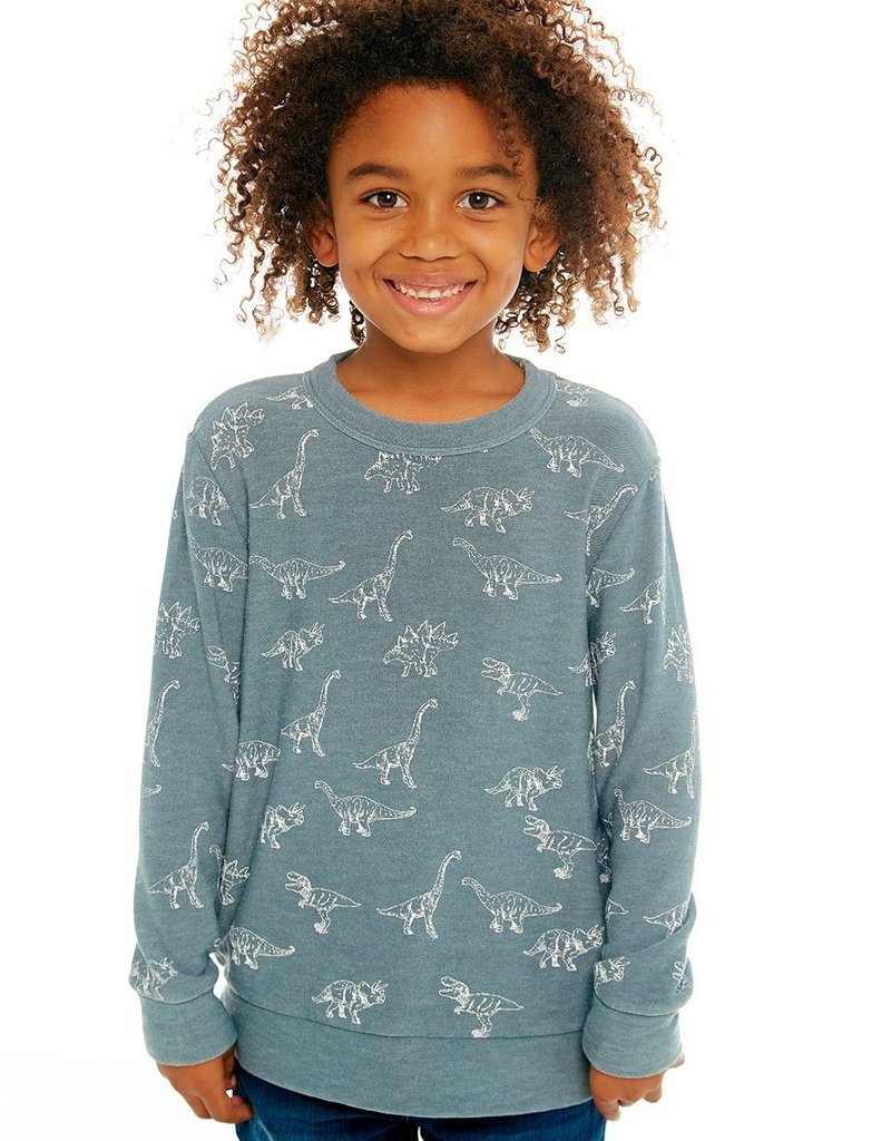 Chaser Chaser Boys Cozy Knit Dino Print Sweater