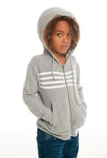 Chaser Chaser Boys 4 Stripe Zip Hoodie