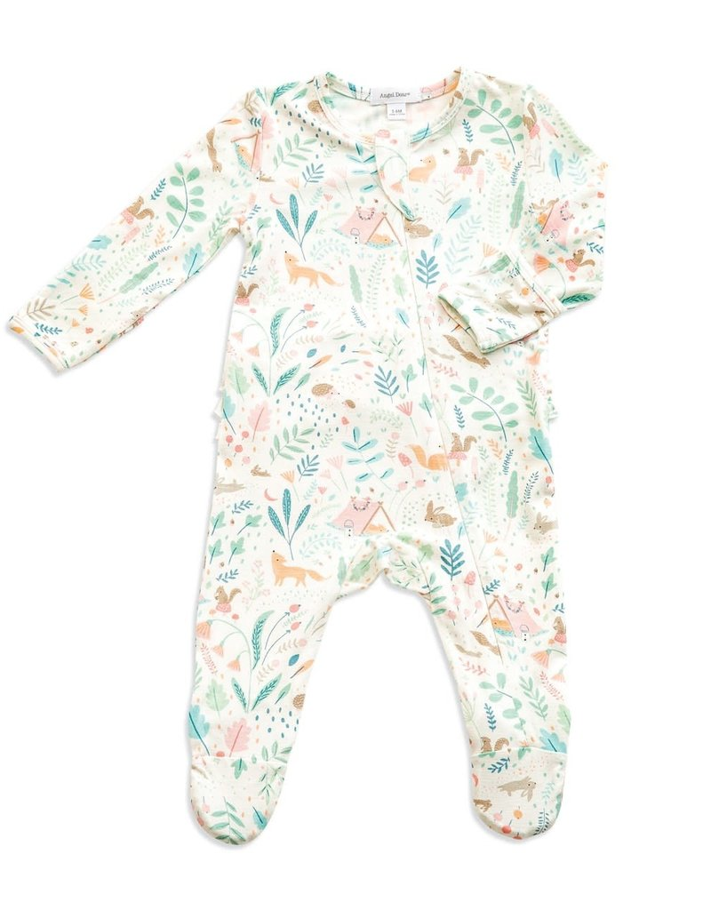 Angel Dear Angel Dear Woodland Floral Ruffle Back Zipper Footie