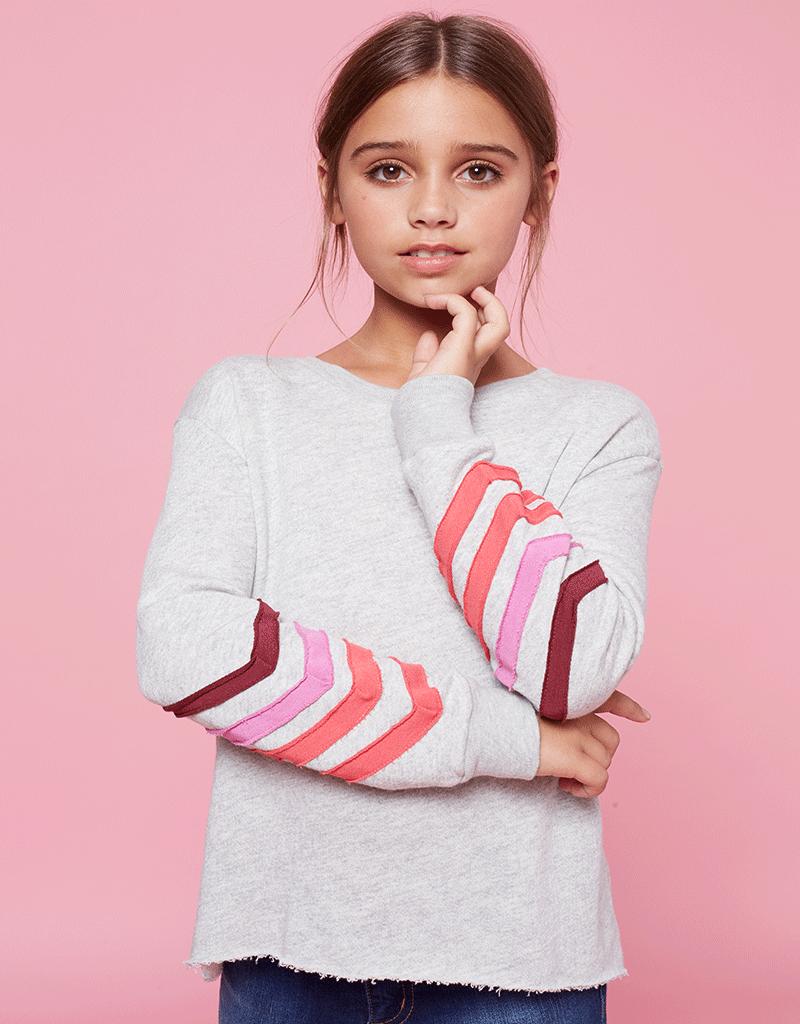 me.n.u Me.n.u Mitered Stripe Sleeve Sweatshirt