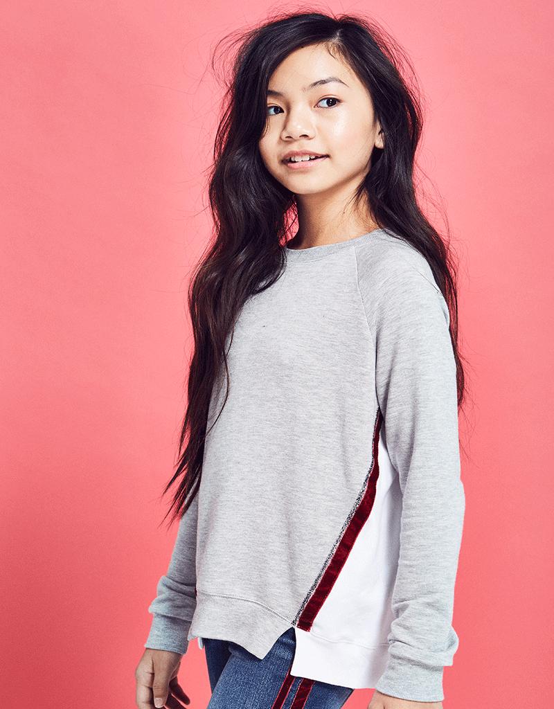 me.n.u Menu Velvet Trim Sweatshirt