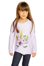 Chaser Chaser Girls Cozy Knit Unicorn Lashes Pullover