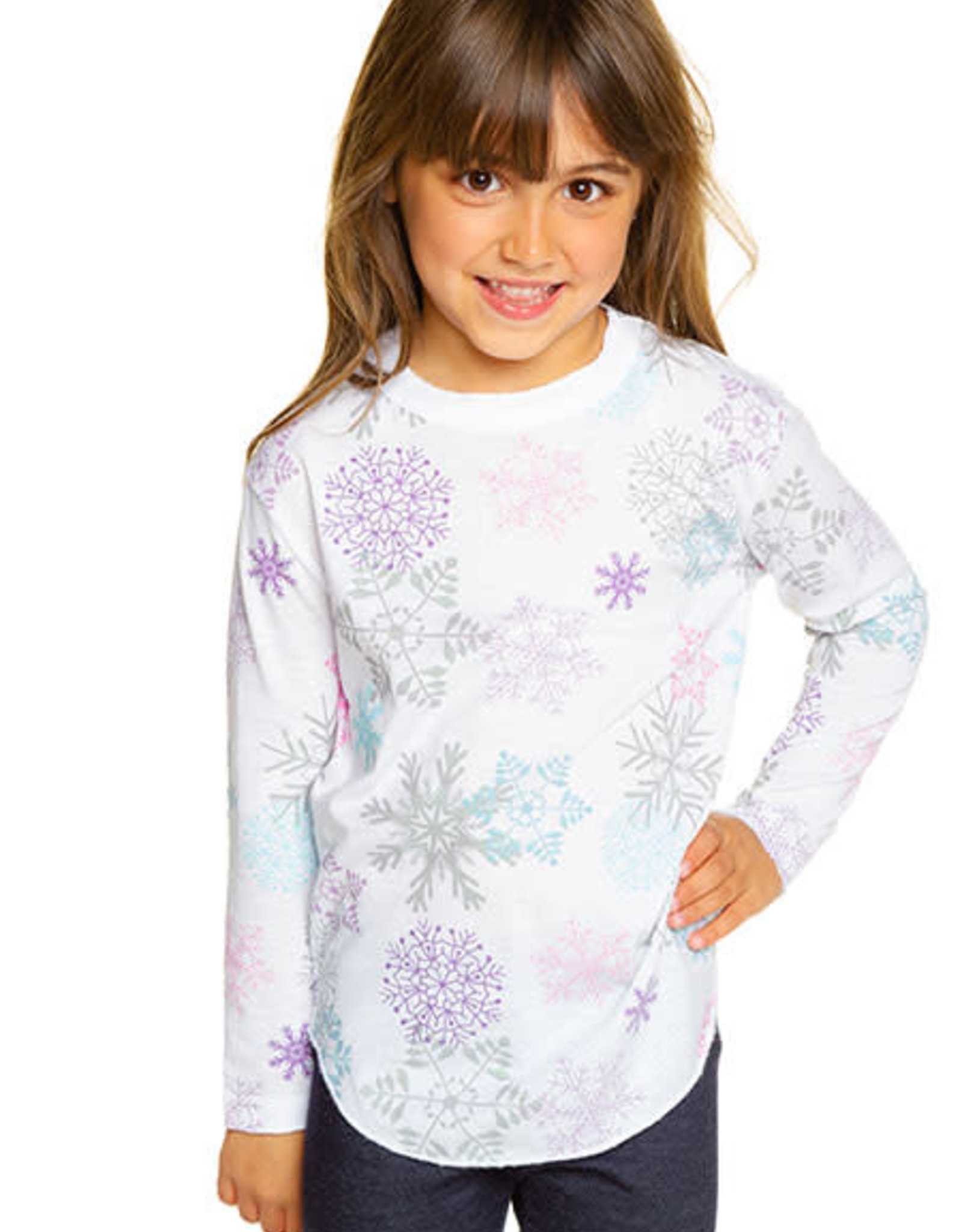 Chaser Chaser Girls Glitter Snowflakes Vintage Shirttail LS Tee