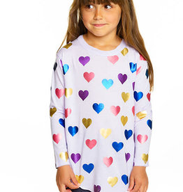 Chaser Chaser Girls Shiny Hearts Vintage Shirttail LS Tee