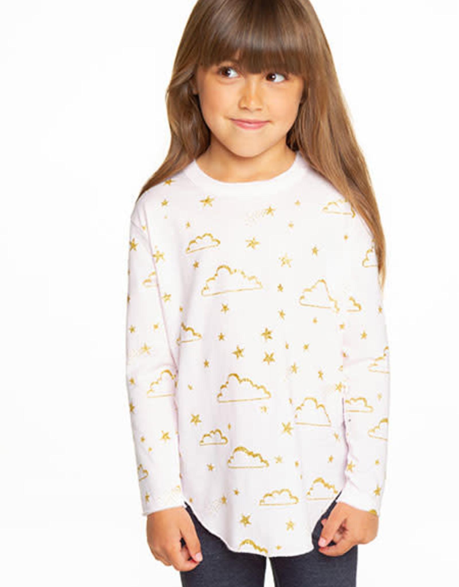 Chaser Chaser Girls Glitter Sky Vintage Shirttail LS Tee