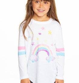Chaser Chaser Girls Watercolor Rainbow Vintage Shirttail LS Tee