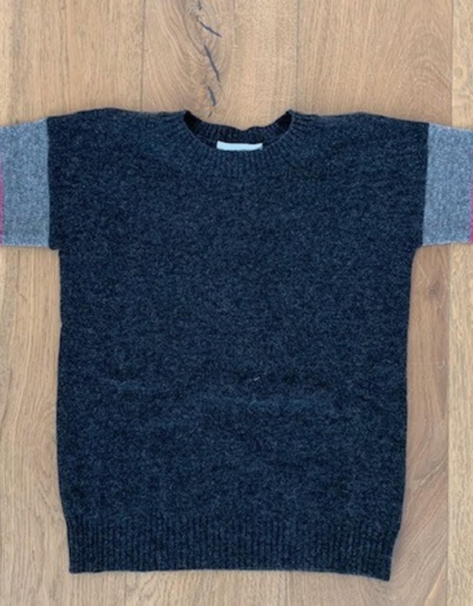 Autumn Cashmere Autumn Cashmere Striped Sleeve Drop Shoulder