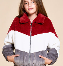 For All Seasons For All Seasons Faux Fur Color Block Jacket