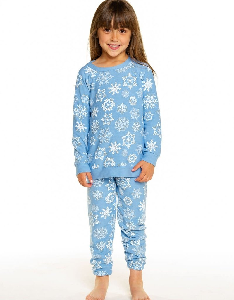 Chaser Copy of Chaser Girls Cozy Knit White Snowflake Sweatpant