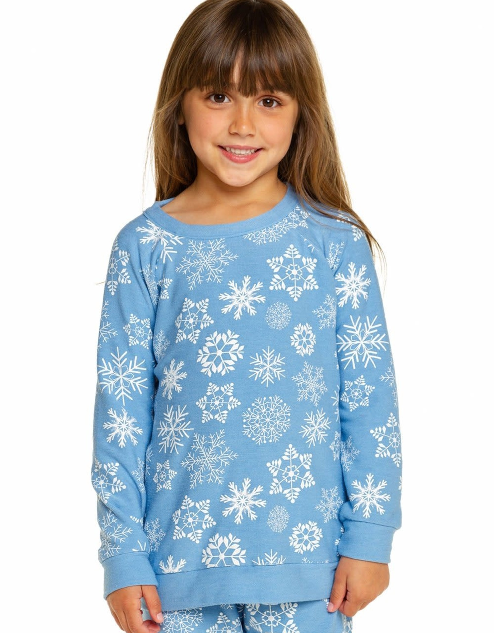 Chaser Chaser Girls Cozy Knit White Snowflakes Raglan Pullover