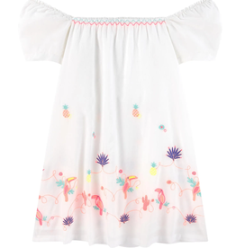 Billieblush Billieblush Poplin Dress w Multicolored Embroidery