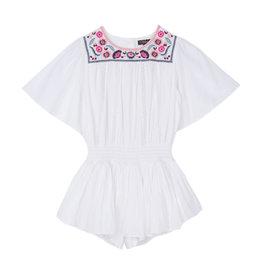 Velveteen Velveteen Blair Flutter Sleeve Playsuit w Embroidery