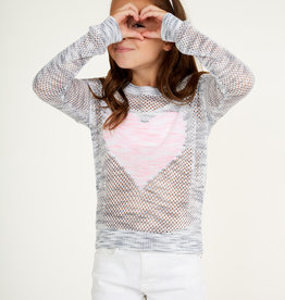 Autumn Cashmere Autumn Cashmere Drop Shoulder Mesh Heart Sweater