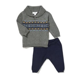 Angel Dear Angel Dear Viking Fair Isle Shawl Collar/Pant Set