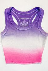 KatieJnyc Katiejnyc Livi Ribbed Crop Tank - Dip Dye Hot Pink and Purple
