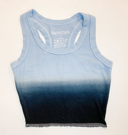 KatieJnyc Katiejnyc Livi Ribbed Crop Tank - Dip Dye Navy and Baby Blue