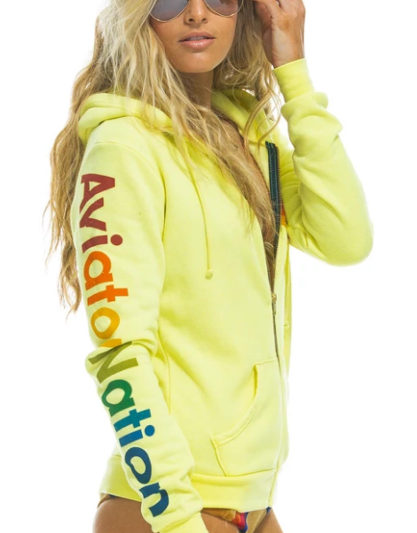 Aviator Nation Aviator Nation Zip Hoodie - Neon Yellow