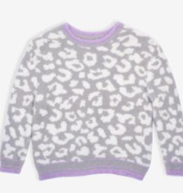 Nev & Lizzie Nev & Lizzie Snow Leopard Cozy Knit Sweater