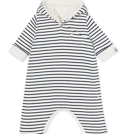 Petit Bateau Petit Bateau Baby Striped Hooded Coverall