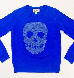 Autumn Cashmere Autumn Cashmere Stitched Skull Sweater - Sapphire/Coin