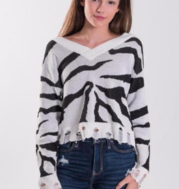 Stoopher & Boots Stoopher Distressed V-Neck Sweater