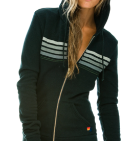 Aviator Nation Aviator Nation 5 Stripe Stitch Hoodie - Charcoal/Grey Stripes