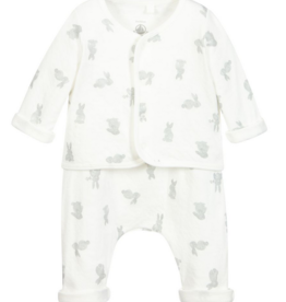 Petit Bateau Petit Bateau Baby Monture Bunny Print Cardigan and Pants