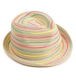 Billieblush Billieblush Rainbow Stripe Straw Fedora