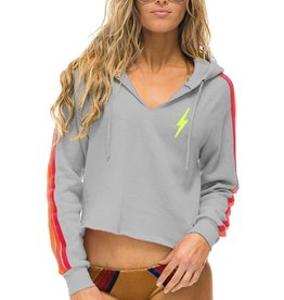 Aviator Nation Aviator Nation Bolt Embroidery Classic 4 - Split Neck Crop Hoodie