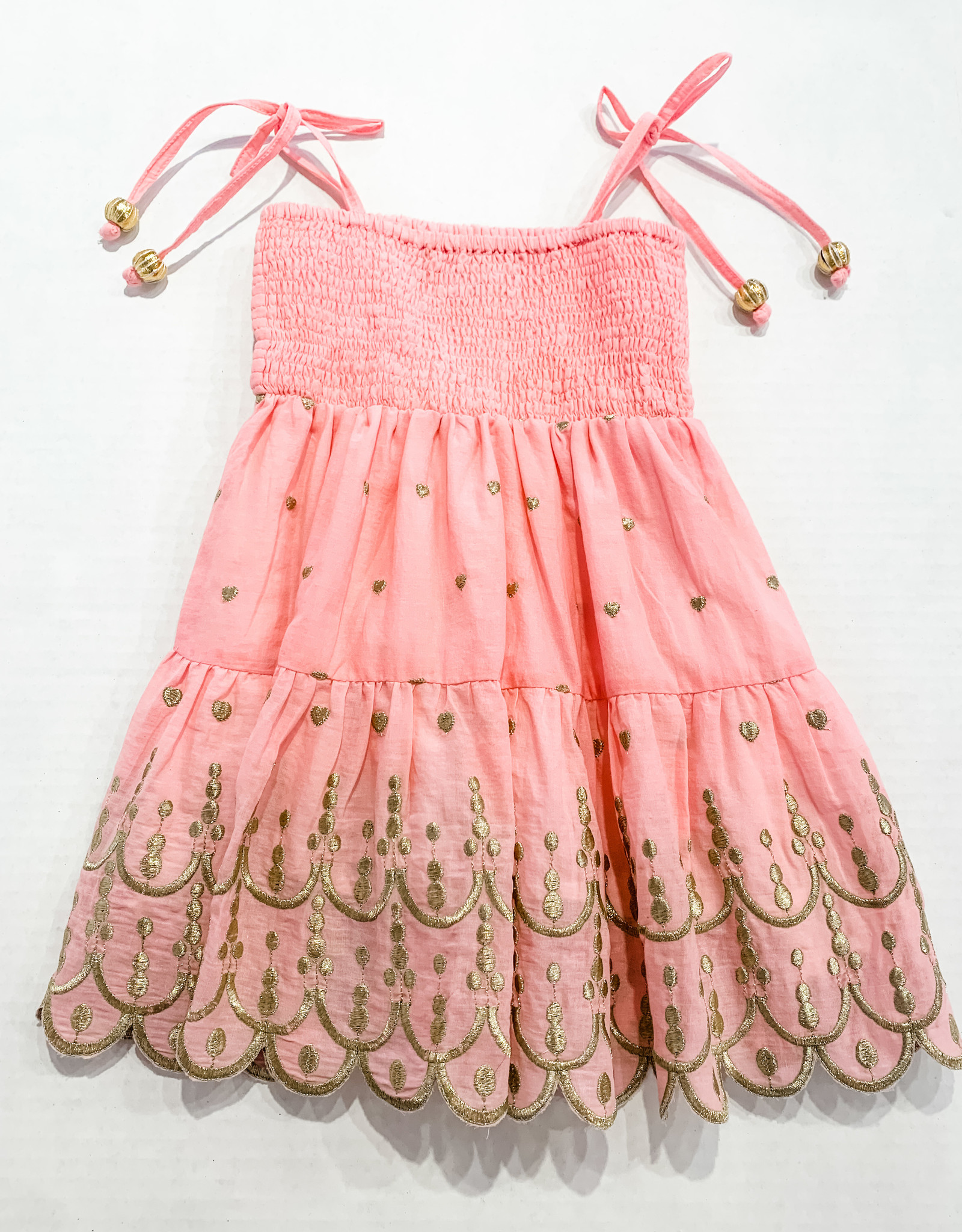 Bell Bell Hearts Smocked Scalloped Dress