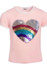 Lola & The Boys Lola & the Boys Rainbow Heart Flip Sequin Tee
