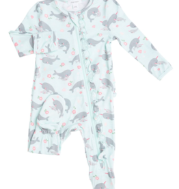 Angel Dear Angel Dear Narwhals Ruffle Front Zip Footie
