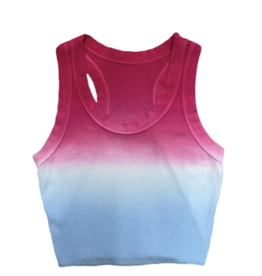 KatieJnyc Katiejnyc Livi Ribbed Crop Tank - Dip Dye Hot Pink and Soft Blue