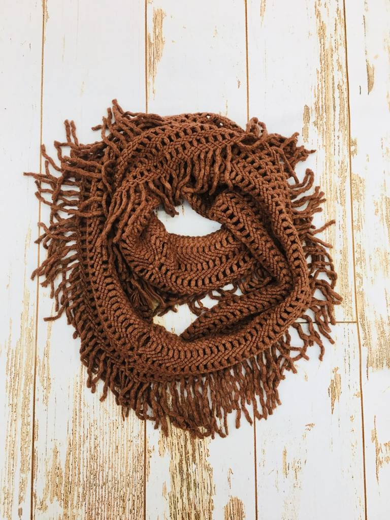 Panache Holey Fringe Scarf Light Brown