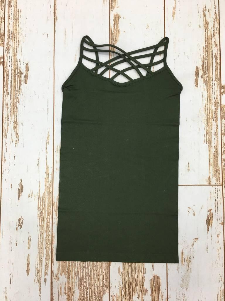 Zenana Seamless Triple Cross Cami Army Green